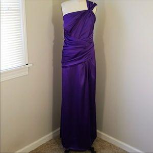 Purple Stretch Satin Formal Gown